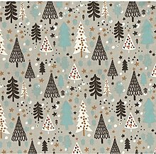 Festive Christmas Trees Poly-Cotton Fabric by The