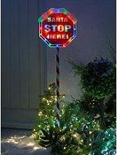 Festive Indoor/Outdoor 110 Cm Santa Stop Here Sign