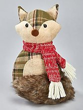 Festive Plush Fox Door Stop Christmas Decoration