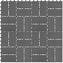 Festnight 11pcs WPC Decking Tile Set Square Deck