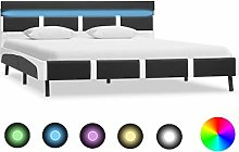 Festnight Double Bed Frame with LED Metal Bed Base