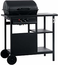 Festnight Gas BBQ Grill with 3-layer Side Table,
