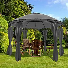Festnight Gazebo with Curtains Round Outdoor Metal