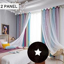 Festnight - Hollow star yarn gradient curtain 100W