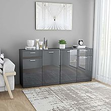 Festnight Sideboard Storage Cabinet with 4 Doors