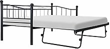 Festnight Single&Double Bed Frame with 4 Wheels,