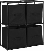 Festnight Storage Cabinet with 4 Fabric Baskets