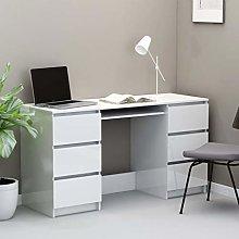 Festnight Writing Desk High Gloss White 140x50x77