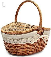 Feunet Hand Made Wicker Basket Camping Picnic
