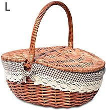 Feunet Hand Made Wicker Basket Camping Picnic