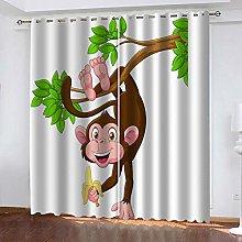 FFFSSS Blackout Curtains Eyelet 3D Monkey Animal