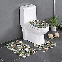 FFLSDR Animal Feather Bathroom Rugs Set 3 Piece