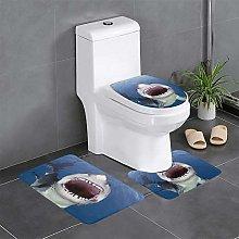 FFLSDR Big Shark Mouth Blue Sea Bathroom Rugs Set