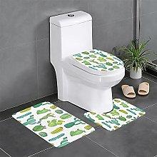 FFLSDR Cactus Bathroom Rugs Set 3 Piece Soft