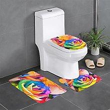 FFLSDR Color Rose Bathroom Rugs Set 3 Piece Soft