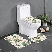FFLSDR Cute Cactus Bathroom Rugs Set 3 Piece Soft