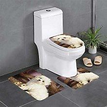 FFLSDR Cute Dog Bathroom Rugs Set 3 Piece Soft