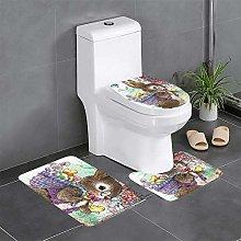 FFLSDR Easter Bunny Bathroom Rugs Set 3 Piece Soft