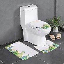 FFLSDR Funny Cactus Bathroom Rugs Set 3 Piece Soft