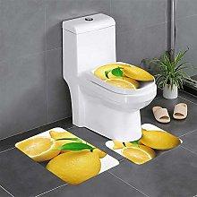 FFLSDR Lemon Bathroom Rugs Set 3 Piece Soft