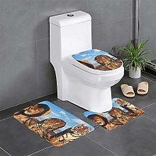 FFLSDR Lions Tiger Leopard Bathroom Rugs Set 3