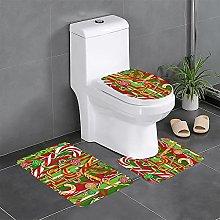 FFLSDR Merry Christmas Bathroom Rugs Set 3 Piece