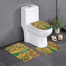 FFLSDR Peacock Bathroom Rugs Set 3 Piece Soft
