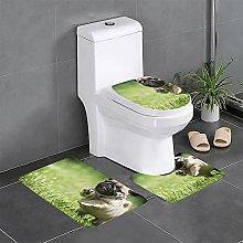 FFLSDR Pug Puppies Bathroom Rugs Set 3 Piece Soft
