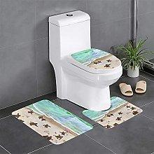 FFLSDR Turtle Beach Bathroom Rugs Set 3 Piece Soft