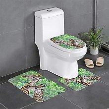 FFLSDR Two Giraffes Bathroom Rugs Set 3 Piece Soft