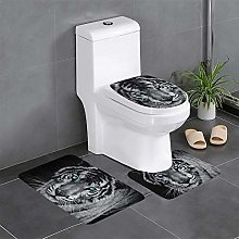 FFLSDR White Tiger Bathroom Rugs Set 3 Piece Soft