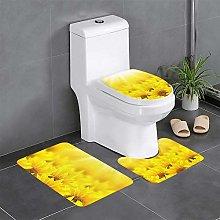 FFLSDR Yellow Sunflowers Bathroom Rugs Set 3 Piece
