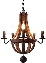 FGART Rustic Vintage Wooden Candle Style Pendant