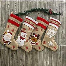 FGASAD Cotton Linen Christmas Stocking, 4 Pieces