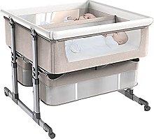 FGDSA Bedside Crib for Twins,Height Adjustable
