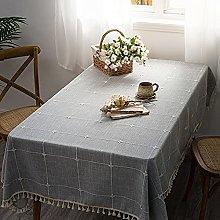 FGJFG Cotton Linen Table Cloth,Gray square rugged