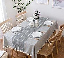 FGJFG Cotton Linen Table Cloth,Gray tassel