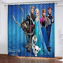 Fgolphd Frozen Blackout Curtain Set for Bedroom 3D