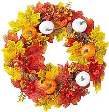 FHKSFJ 15.7Inch Artificial Pumpkin and Maple Leaf