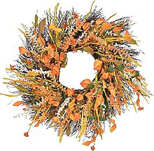 FHKSFJ 24 Inch Artificial Wheat Wreath Fall Wreath