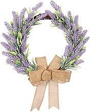 FHKSFJ Artificial Lavender Wreath 15.7 Inch Wall