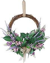 FHKSFJ Artificial Lavender Wreath Indoor and