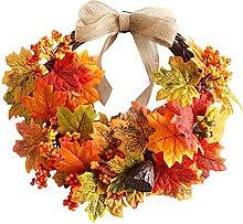 FHKSFJ Artificial Maple Leaf Wreath Harvest Wreath
