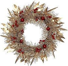 FHKSFJ Christmas Wreath for Front Door 50CM Golden