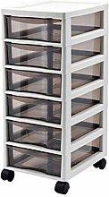 FHLH Durable Drawer Storage Cart 6-layer White