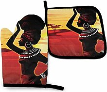 FHTDH Oven Mitts and Pot Holders Sets, Afro Woman