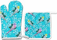 FHTDH Parrot Budgie Bird Pattern Turquoise Oven