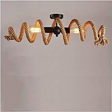 FHUA Ceiling light Retro Hemp Rope Ceiling Light