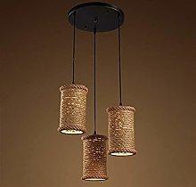 FHUA Ceiling light Vintage Hemp Rope Chandelier,
