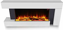 FIDOOVIVIA LED Digital Fireplace White Surround